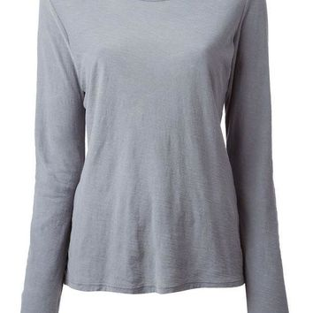 James Perse Long Sleeve Slub Knit T Shirt