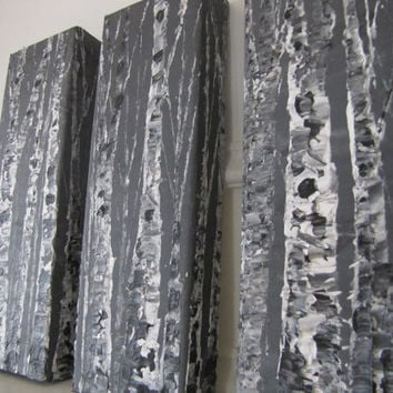 Grey Black and White Aspen textured triptych