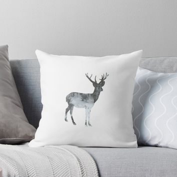 'Snowing Reindeer On White' Throw Pillow by by-jwp