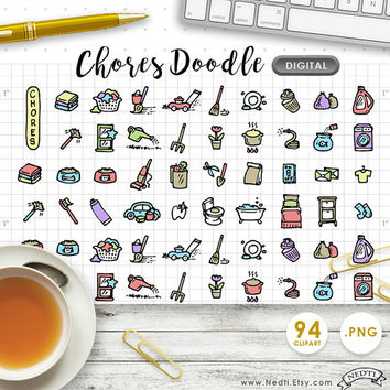 DIGITAL CLIPART Chores, Cleaning, Daily Doodle Handdrawn. Downloadable. Great for making planner stickers. Life Planner. Erin Condren.