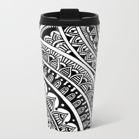 Black & White Boho Metal Travel Mug by Sarah Oelerich