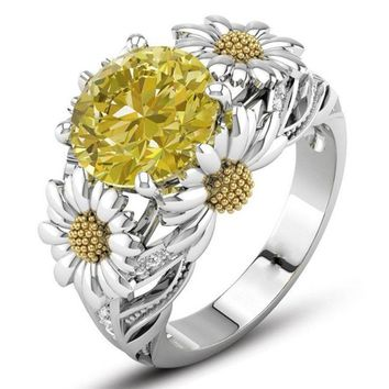 Citrine Daisy Flower Ring Round Cut Ring Wedding Engagement Gift Ring Jewelryecg