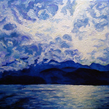 "Giclee print on canvas, matted - Blue Mountain No.1 - 8"" x 10""  - Signed/Editioned"