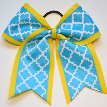 Quatrefoil Cheer Bow - Turquoise and Yellow