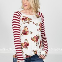 Striped Waldo Floral Knot Top