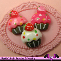 6 Pcs Cupcake Cup Cake Sweets Decoden Kawaii Flatback Resin Cabochons 16 x 18 mm