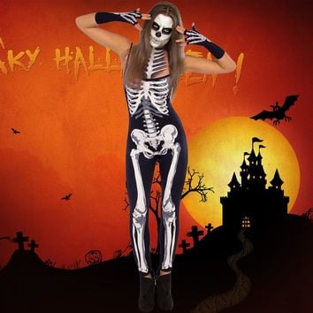 Women Halloween Party Cosplay Skeleton Jumpsuit Skull Printed Strappy Bodysuits Overalls Zombie Costume Halloween Jumpsuit Black