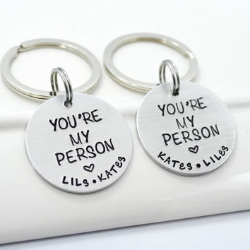 You're My Person Best Friend Keychain Set | Personalized BFF Keychains