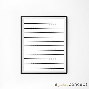 Scandinavian Art, Summer Inspiration, Minimalistic Home Decor, Modern Wall Art, Arrows and Branch Poster, Digital Print, Instant Download