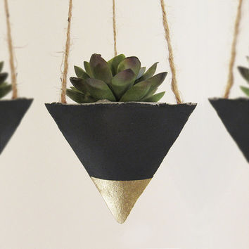 Succulent Planter, Concrete Planter, Hanging Planter, Modern Planter, Geometric Planter, Air Plant Holder, Gold Planter, Black - Set of 3