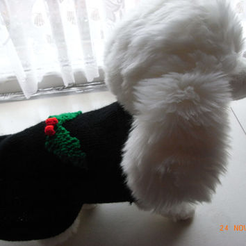 "small xs hand knit christmas mini poodle dog sweater / coat 13"" mini poodle sweater, small dog clothing, pet clothes, small dog sweater"