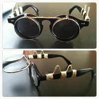 ELIIXIR Rocketeer Steampunk Black & Gold Sunglasses