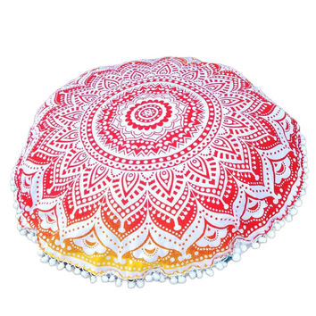 Indian Large Mandala Floor Pillowcase Round Bohemian Meditation Cushion Case Ottoman Pouf bohemian floor pillows cushions Case