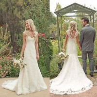 White/Ivory Lace Wedding Dress Bridal Gown Custom Size 4 6 8 10 12 14 16 +++++