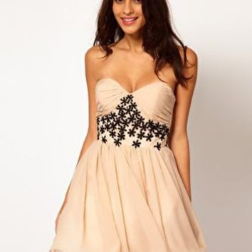 Opulence England Chiffon Bandeau Flower Dress at asos.com