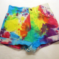 LEVI Tie-Dye RAINBOW denim high-waisted Shorts Indie hipster seapunk soft grunge hippie vaporwave 90s club kid rave
