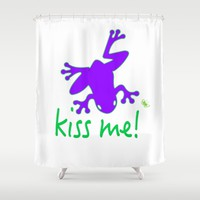 Kiss The Frog Shower Curtain by Macsnapshot