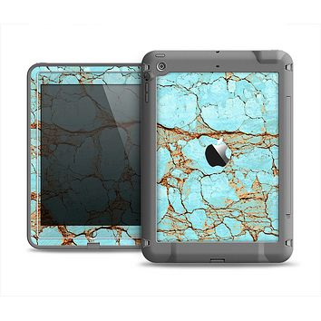 The Cracked Teal Stone Apple iPad Air LifeProof Fre Case Skin Set