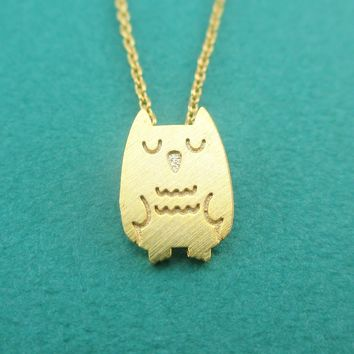 Cute Sleepy Owl Bird Shaped Pendant Necklace in Gold