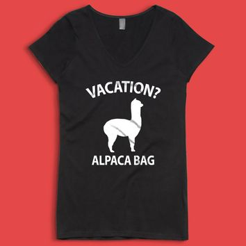 Vacation Alpaca Bag Women'S V Neck
