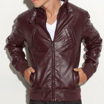 Handmade Men burgandi color  leather jacket with front ziper and belted collar, men's biker leather jacket, real lather jacket