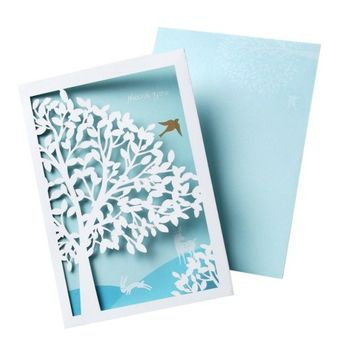 Thank You Cards with Laser Cut Tree and Bird (10 count)