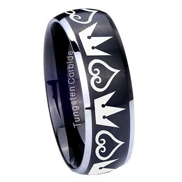 8MM Matte Brush Black Dome Hearts and Crowns 2 Tone Tungsten Laser Engraved Ring