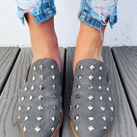Simply Studded Mules: Grey/Silver