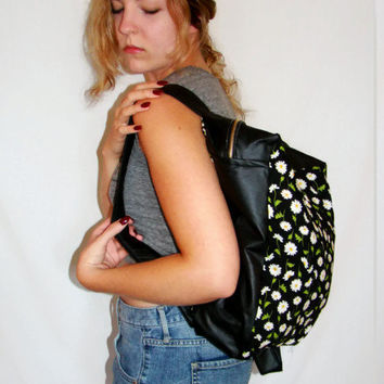 Floral Print Backpack Black Vegan Leather Book Bag Daisy Bag 90s Grunge Inspired Back To School