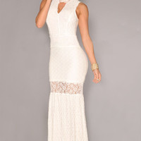 White Lace High Neck Sleeveless Maxi Dress