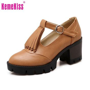 hand made Round Toe T-Strap Thick Square Heels Women's Shoes