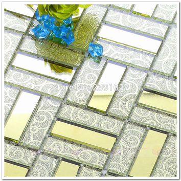 1Box22Sheets High Quality Glass Mosaic Crystal Glass 3D Mosaic Tile Wall Tile Kitchen Backsplash Ceiling Tile Shipping
