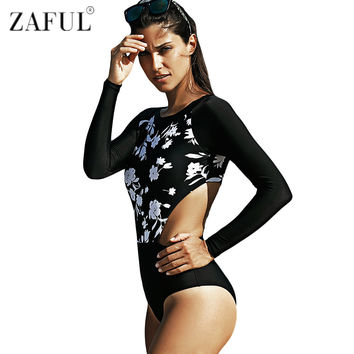 ZAFUL 2016 New Style Jewel Neck Long Sleeve One Piece Swimwear Sport Style Surfing Swimsuit Beach Floral Swimwear Bathing Suit