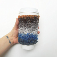 Textured Cable Stitch Coffee Cozy in Mosaic, ready to ship.