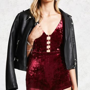 Crushed Velvet O-Ring Romper