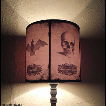 Halloween Curiosities Lamp Shade Lampshade - skull lamp, cabinet of curiosities, Halloween decor, raven, crow, owl, bat, spider