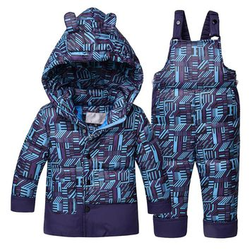 Russian Winter down jacket for boy girls 2017 kids children winter coat baby clothes with bib pants for -30 degree high quality