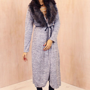 Maxi Length Fur Collar Spacedye Cardigan with Belt in Light Grey