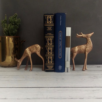 Brass Deer/ Brass Deer Figurine/ Pair of Brass Deer/ Deer Antler/ Brass Decor/ Brass Figurines/ Brass Bookends/ Brass Sculpture/ Woodland