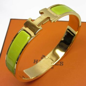 Auth HERMES Clic Clac H Bangle Bracelet Goldtone/Enamel Yellow Green - h18166