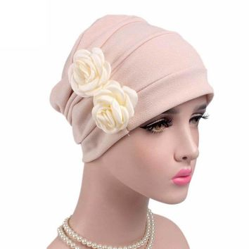 Women Knitted hat Flowers Cancer Chemo Hat Beanie Turban Fitted Head Wrap Cap High Quality Cotton Cap Outdoor Mask Ski Caps
