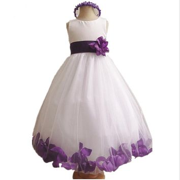 Peach Flower Girl Dresses Cute Ball Gowns First Communication Dresses with Waist and More Below Flowers Collars Embellished