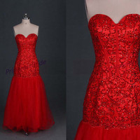 2014 long red tulle and satin prom dresses with rhinestones,chic sweetheart gowns for wedding party,cheap homecoming dress under 200.