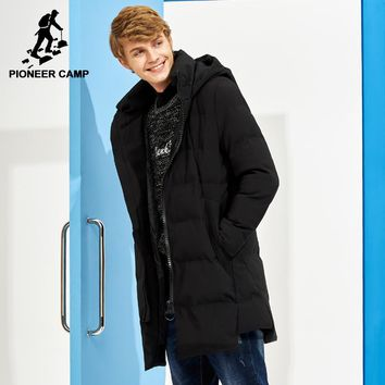 Pioneer Camp new long thick winter coat men brand clothing black solid warm hooded jacket male quality parkas jacket AMF705287