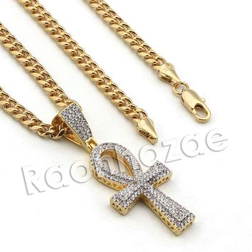 Lab diamond Micro Pave Egyptian Ankh Cross Pendant w/ Miami Cuban Chain BR105