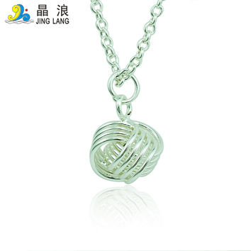 DIY Retail New Arrival High Quality Best Selling Silver and Golden plated Wool Ball Pendant Necklace For Unisex Jewelry