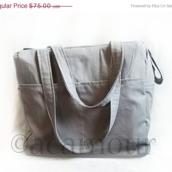 Fall Sale - Lyra Grey Diaper Bag - Large Baby bag - Weekender in Solids - Made to Order - Choose your Color