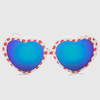 Kiss Kiss Heart Sunglasses - White