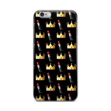 Lipstick & Crown Emoji Collage Cute Teen Girly Girls Black iPhone 4 4s 5 5s 5C 6 Plus 6s Plus 7 & 7 Plus Case
