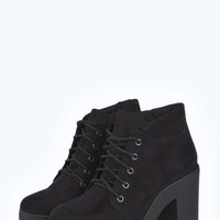 Jordan Lace Up Cleated Block Heel Hiker Boot